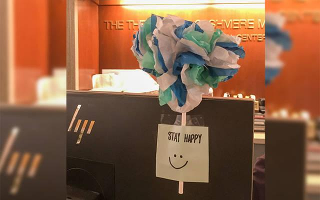 <p>Five-year-old Allison Fackelman made paper flowers that were displayed at Rochester General Hospital. (Photo courtesy of Erin Velieri)  </p>