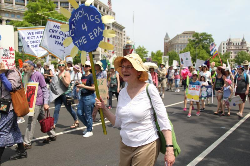 Nancy Lorence, parishioner at St. Francis Xavier Church, New York City is seen during the People's Climate March in Washington April 29.