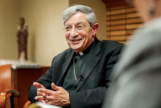 Bishop-Designate Salvatore R. Matano smiles during a Nov. 21 interview with the Catholic Courier.