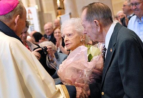 During the May 6 Wedding Jubilee Mass Bishop Matthew H. Clark recognizes Virginia and Raymond Blind for their 76 years of marriage.