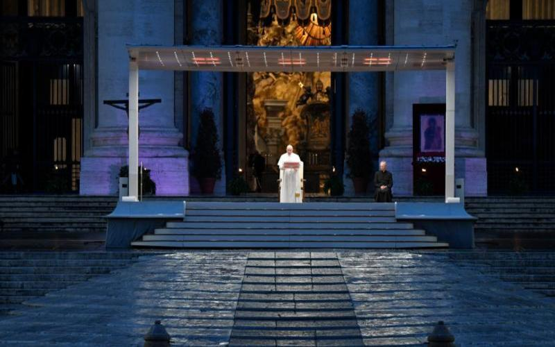 Pope Francis leads a prayer service