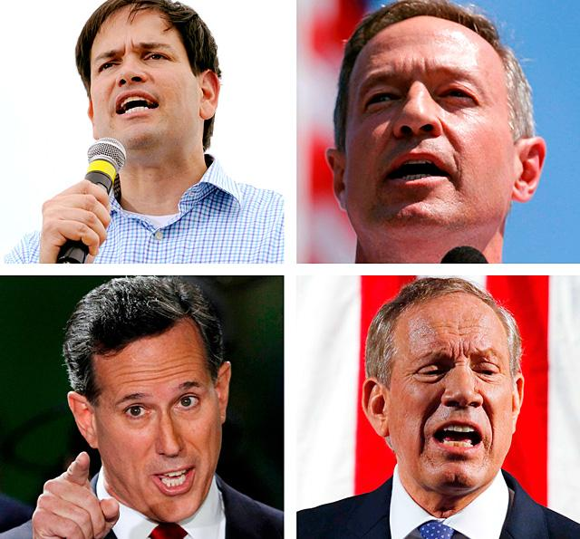 Catholics who have declared their candidacy for the U.S. presidency include, clockwise, Florida Republican Sen. Marco Rubio, former Maryland Democratic Gov. Martin O'Malley, former Pennsylvania Republican Sen. Rick Santorum, and former New York Republica n Gov. George Pataki.