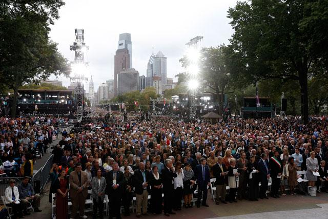The faithful attend the closing Mass of the World Meeting of Families celebrated by Pope Francis on Benjamin Franklin Parkway in Philadelphia Sept. 27.