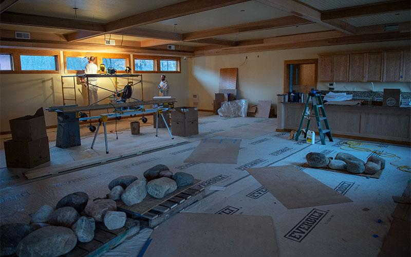 Workers complete interior work Nov. 26 as part of a renovation project at the Abbey of the Genesee in Piffard. (Courier photo by Jeff Witherow)