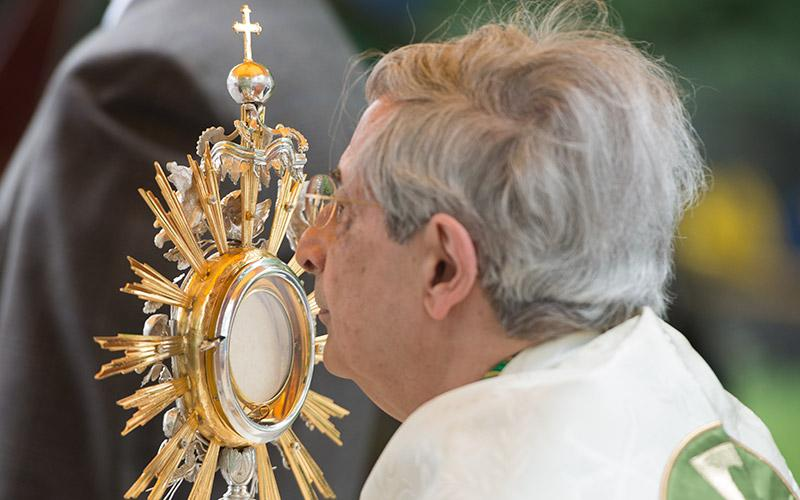 Bishop Matano processes with the Blessed Sacrament towards the third altar during the eucharistic procession following the closing Mass for the Year of the Eucharist June 3. (Courier photo by Jeff Witherow)