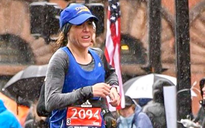 Jessica Chichester, a native of Mount Morris, competes in the Boston Marathon April 16. (Photo courtesy of Jessica Chichester)
