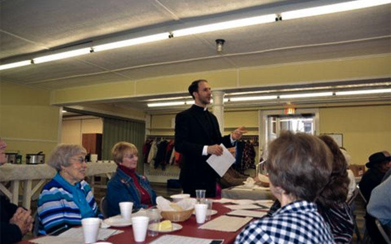 Father David Tedesche, pastor of St. Joseph the Worker Parish, gives a presentation during one of the Soup and Sharing sessions that took place in Lyons during Lent 2019.