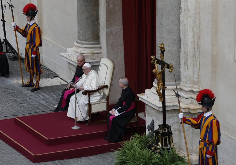 Pope Francis leads his general audience in the San Damaso courtyard at the Vatican Sept. 2, 2020.