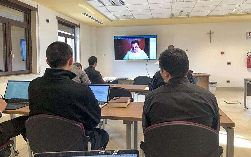Seminarians participate in their first online course since the start of the COVID-19 quarantines at the Pontifical North American College in Rome, Italy, March 9.