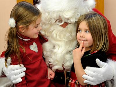 "Prekindergarten through second-grade students at St. Joseph School in Auburn got to meet Santa Claus and indulge in some Christmas treats during a Dec. 14 ""Breakfast with Santa"" in the school cafeteria."
