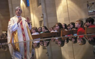 Bishop Salvatore R. Matano celebrated Mass with students from the Diocese of Rochester Catholic Schools Feb. 27 at Sacred Heart Cathedral.