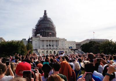 Thousands gathered on the West Lawn of the U.S. Capitol building to watch Pope Francis' address to the joint members of Congress Sept. 24. Former staff writer Amy Kotlarz had received a pair of tickets in a lottery through Sen. Kirsten Gillibrand's office. (Photos courtesy of Amy Kotlarz)