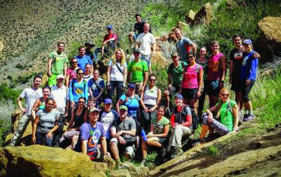 Members of Catholic Young Adult Sports of San Diego pose for a group photo while hiking to Three Sisters Falls in Cleveland National Forest in 2014.