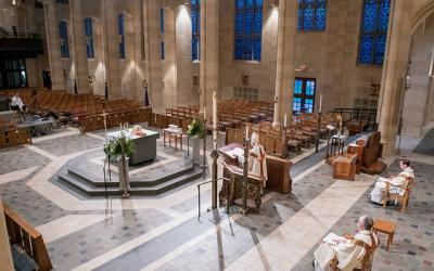 <p> Bishop Salvatore R. Matano gives the homily to a livestream at Rochester's Sacred Heart Cathedral during an April 11 Easter Vigil Mass, amid CDC COVID-19 restrictions.