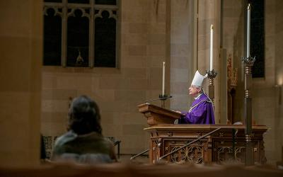 <p> Bishop Salvatore R. Matano gives the homily during the Jan. 28 Mass for Life celebrated at Rochester's Sacred Heart Cathedral.</p>