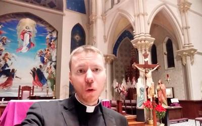 <p>Father Justin Miller sings a Lenten-themed sea shanty in a video posted on YouTube. (Screen capture via YouTube)  </p>