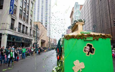 <p>A parade float is seen during the 2015 St. Patrick&rsquo;s Day Parade in Rochester. (Courier file photo)  </p>
