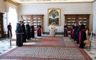 <p>Pope Francis prays as he leads his general audience in the library of the Apostolic Palace at the Vatican March 10, 2021. The pope recalled his recent visit to Iraq and said it was meant to be &ldquo;a sign of hope&rdquo; for the people of the country who suffered from war, terrorism and the pandemic. (CNS photo by Vatican Media)  </p>