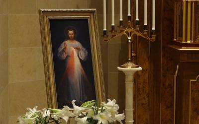 The image of Divine Mercy is seen at Rochester's Sacred Heart Cathedral April 19, 2020.