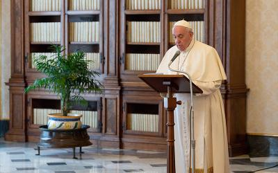 <p>Pope Francis leads the Angelus in the library of the Apostolic Palace at the Vatican March 21, 2021. The pope condemned the Mafia&rsquo;s exploitation of the COVID-19 pandemic. (CNS photo by Vatican Media)  </p>