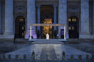 <p>Pope Francis leads a prayer service in an empty St. Peter&rsquo;s Square at the Vatican in this March 27, 2020, file photo. The Vatican has published a book commemorating the prayer service, which made a strong impression on people around the world in the same month COVID-19 was declared a global pandemic. (CNS photo by Vatican Media)  </p>
