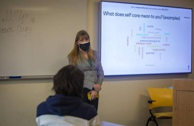 <p>Shannon Boley, assistant director of the Office of Ministry and Spiritual Life at Marymount University in Arlington, Va., talks to students at the Catholic college March 17, 2021, about employing self-care during the coronavirus pandemic. (CNS photo by Chaz Muth)  </p>