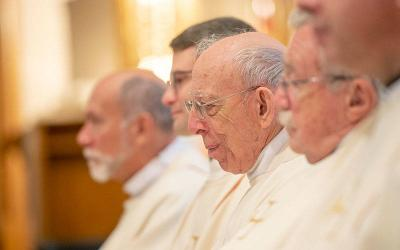 <p>Father Joseph Trovato is seen during an Aug. 5, 2017, priest ordination at St. Mary Church Rochester. (Courier file photo)  </p>