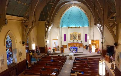 <p>A funeral service for Steven Amenhauser took place March 31 at Rochester&rsquo;s Holy Apostles Church. (Courier photo by Jeff Witherow)  </p>