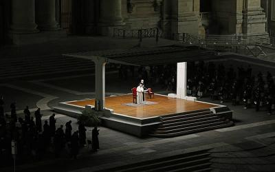 <p>Pope Francis leads the Way of the Cross in St. Peter&rsquo;s Square at the Vatican April 2, 2021. (CNS photo by Paul Haring)  </p>