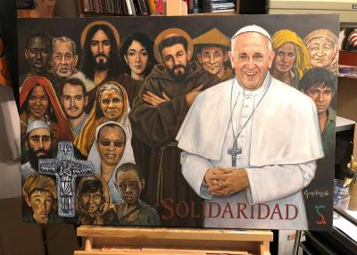 <p>This is a painting by George Perez of Vineland, N.J., that was commissioned by the Global Solidarity Fund, a nonprofit anti-poverty group, and presented to Pope Francis as a gift in late February 2021. (CNS photo courtesy Catholic Star Herald)  </p>