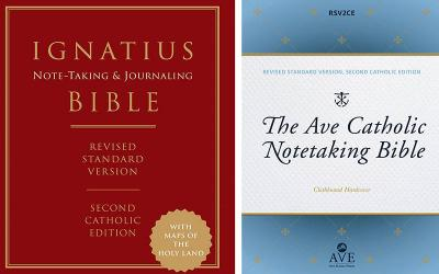 <p>These are the covers of the &ldquo;Ignatius Notetaking and Journaling Bible,&rdquo; published by Ignatius Press, and &ldquo;The Ave Catholic Notetaking Bible,&rdquo;published by Ave Maria Press. These books are reviewed by Eugene J. Fisher. (CNS composite courtesy Ignatius Press, Ave Maria Press)  </p>