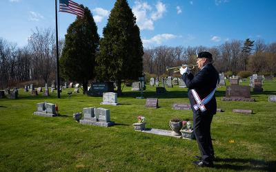 <p>Bob Tuszynski, a fourth-degree Knight of Columbus, performs &ldquo;Taps&rdquo; on his trumpet at Holy Cross Cemetery in Bay Settlement, Wis., April 22, 2021. Tuszynski began the practice on Memorial Day last year and has continued to play nearly every day. By Memorial Day, May 31, he will have performed &ldquo;Taps&rdquo; 1,000 times, he said. (CNS photo by Sam Lucero/The Compass)  </p>