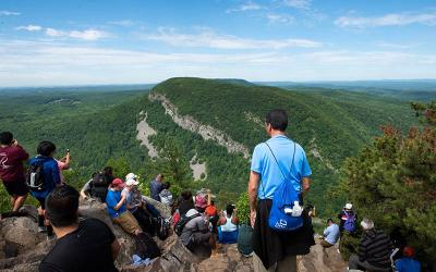 <p>Men from the Diocese of Trenton, and their sons hike Mount Tammany in Knowlton Township, N.J., June 15, 2019. (CNS photo by Jeff Bruno)  </p>