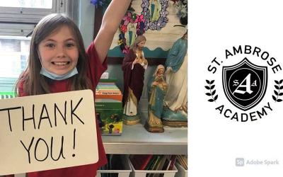 <p>Students at St. Ambrose Academy in Rochester made a video to support Diocese of Rochester seminarians. (Screenshot courtesy of St. Ambrose School)  </p>