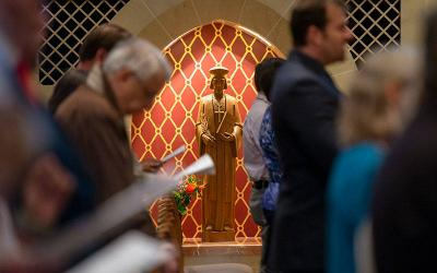 <p>A statue of St. John Fisher, the patron saint of the Diocese of Rochester, is seen at Sacred Heart Cathedral during a June 22 Mass celebrating the saint&rsquo;s feast day. (Courier photo by Jeff Witherow)  </p>