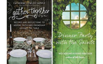 <p>These are the covers of &ldquo;Gather Together: Recipes and Reflections to Inspire Faith and Friendship Around the Table,&rdquo; by Catherine Fowler Sample; &ldquo;Dinner Party with the Saints,&rdquo; by Woodeene Koenig-Bricker; recipes by Celia Murphy. These books are reviewed by Daniel S. Mulhall. (CNS composite courtesy Ave Maria Press, Paraclete Press)  </p>