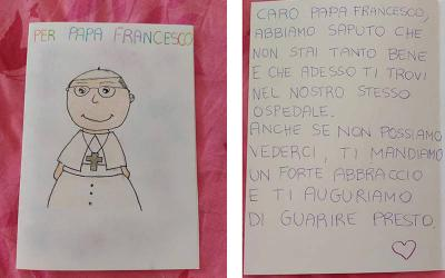 <p>A patient in the pediatric oncology ward of Rome&rsquo;s Gemelli hospital made a card for Pope Francis, who is recovering there from colon surgery. The child wrote, &ldquo;Dear Pope Francis, we heard you are not so well and that you are in our hospital now. Even if we cannot see each other, we send you a big hug and hope you will heal quickly.&rdquo; (CNS photo courtesy Policlinico Gemelli)  </p>
