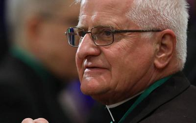 <p>Auxiliary Bishop Edward M. Grosz of Buffalo, N.Y., participates in the spring general assembly of the U.S. Conference of Catholic Bishops in Baltimore June 13, 2019. Bishop Grosz retired in March 2020. (CNS photo by Bob Roller)  </p>