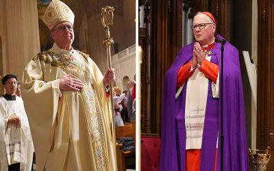 <p>Archbishop Joseph F. Naumann of Kansas City, Kan., chairman of the the U.S. Conference of Catholic Bishops&rsquo; Committee on Pro-Life Activities, and New York Cardinal Timothy M. Dolan, chairman of the USCCB&rsquo;s Committee for Religious Liberty, are seen in this composite photo. (CNS composite; photos by Long Island Catholic and Gregory A. Shemitz)  </p>