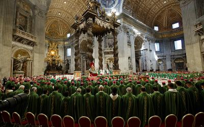 <p>Pope Francis leads a Mass to close a three-week Synod of Bishops for the Amazon at the Vatican in this Oct. 27, 2019, file photo. The Vatican recently released the names of two commissions charged with assisting the leaders of the Synod of Bishops&rsquo; general secretariat in reviewing documents, drafting resources and developing best practices for the 2023 Synod of Bishops on synodality. (CNS photo by Remo Casilli/Reuters)  </p>