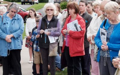 <p>People pray during a National Day of Remembrance for Aborted Children event at St. Mary Church in Waterloo Sept. 10.  Courier photo by John Haeger </p>