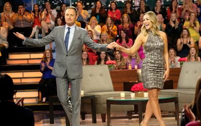 The bachelorette Clare Crawley with host Chris Harrison.
