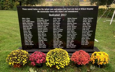 <p>The names of 96 people who passed away when they were residents of Willard Psychiatric Center are engraved on a memorial located at Holy Cross Cemetery in Ovid. (Photo courtesy of Colleen Spellecy)</p>