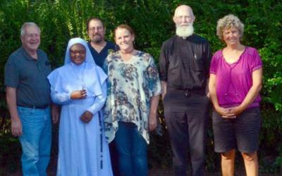 "<p>Jim Claire (from left); ""Sister Stan"" Terese Mario Mumuni; Grand Knight Gary Mikolajczyk and Amy Mikolajczyk of Our Lady of the Valley Parish; Father John Cullen; and Jen Spoth of St. Mary's Church of Canaseraga are involved in raising funds for a van that will benefit an orphanage in Ghana.  </p>"