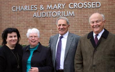 <p>Susan Curran, cochair of Elmira Notre Dame High School's Legacy of Caring Campaign (from left); Sister of Mercy Mary Walter Hickey, Elmira Notre Dame's president; Richard Crossed, Elmira Notre Dame Class of 1958; and Dan Burke, Legacy of Caring Campaign cochair, stand in front of the school's new Charles & Mary Crossed Auditorium.  </p>