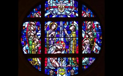 This stained-glass window depicts a scene from Pentecost, which marks the end of the Easter season and commemorates the Holy Spirit descending upon the apostles 50 days after Christ's resurrection. The Spirit's promise that life always can be renewed is the promise of Pentecost. (CNS photo by Gregory A. Shemitz)