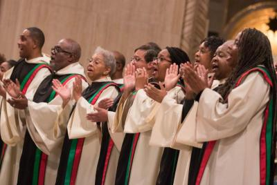 Members of the St. Augustine Gospel Choir sing during Mass in Washington. November is Black Catholic History Month. (CNS photo by Daphne Stubbolo/Archdiocese of Washington)