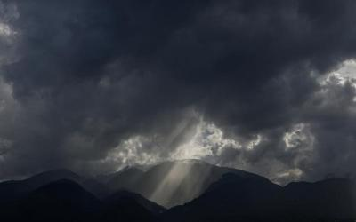 Sun rays appear through heavy clouds over Mount Olympus in Greece. (CNS photo by Alkis Konstantinidis/Reuters)