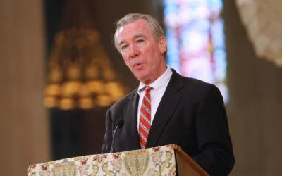 John Garvey, president of The Catholic University of America, is seen speaking at the Basilica of the National Shrine of the Immaculate Conception in Washington
