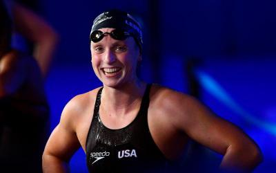 Katie Ledecky smiles after winning the women's 800-meter freestyle final of the 2017 FINA Swimming World Championships in Budapest, Hungary, July 29. (CNS photo by Tamas Kovacs/EPA)